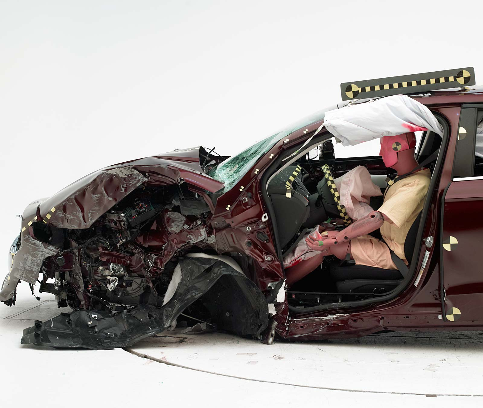 The Dummy S Position In Relation To Door Frame Steering Wheel And Instrument Panel After Crash Test Indicates That Driver Survival E Was
