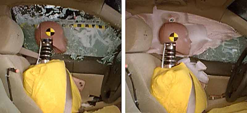 Crash test without and with a side curtain airbag