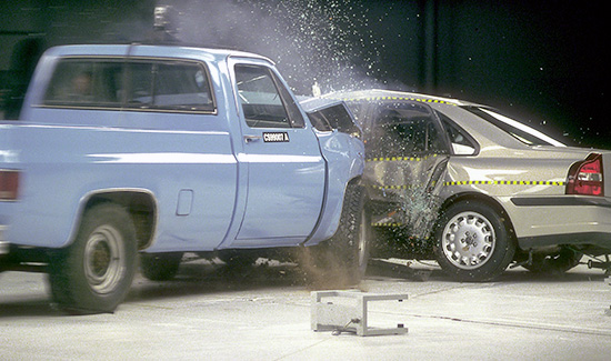 Pickup into Volvo test