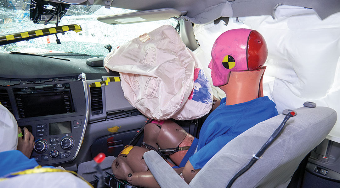 Toyota Sienna passenger dummy post-crash