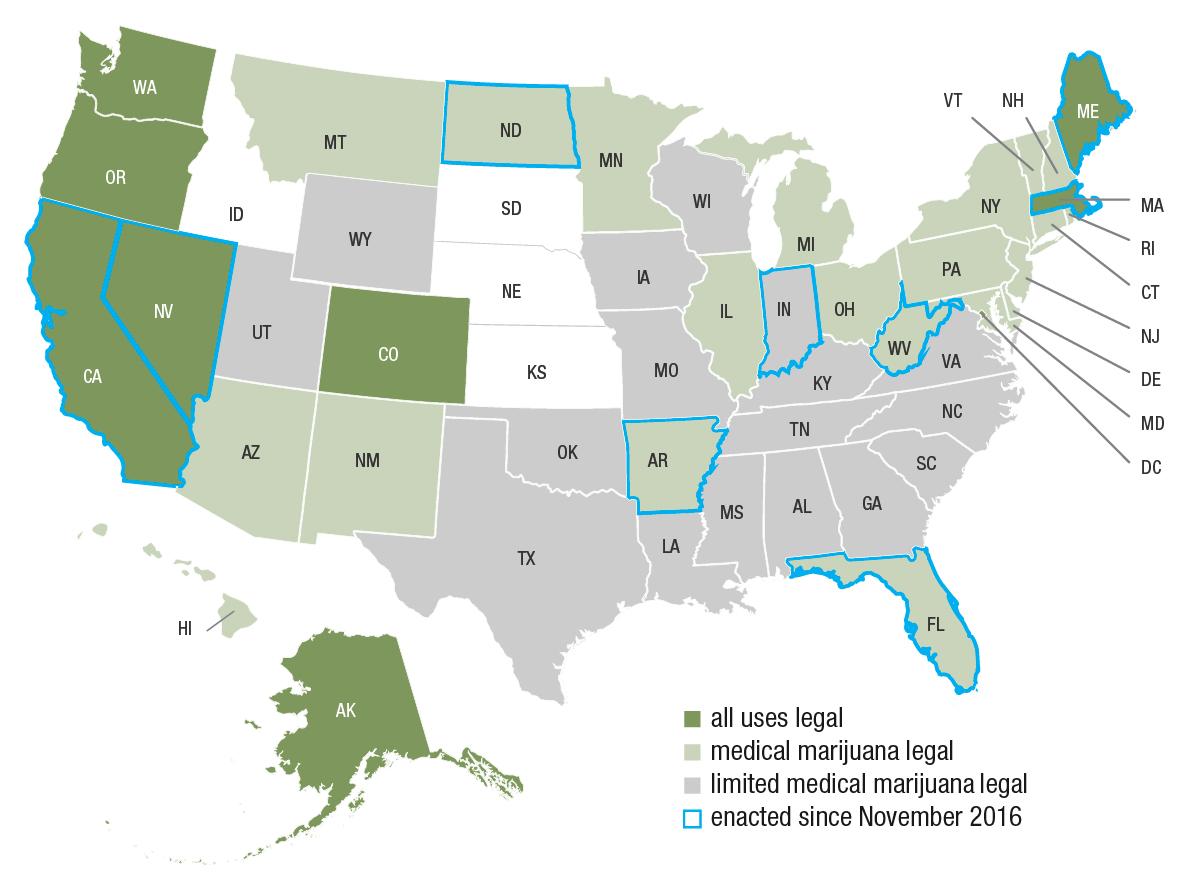 US Marijuana Legalization Map Canna Law Blog Map The Postelection