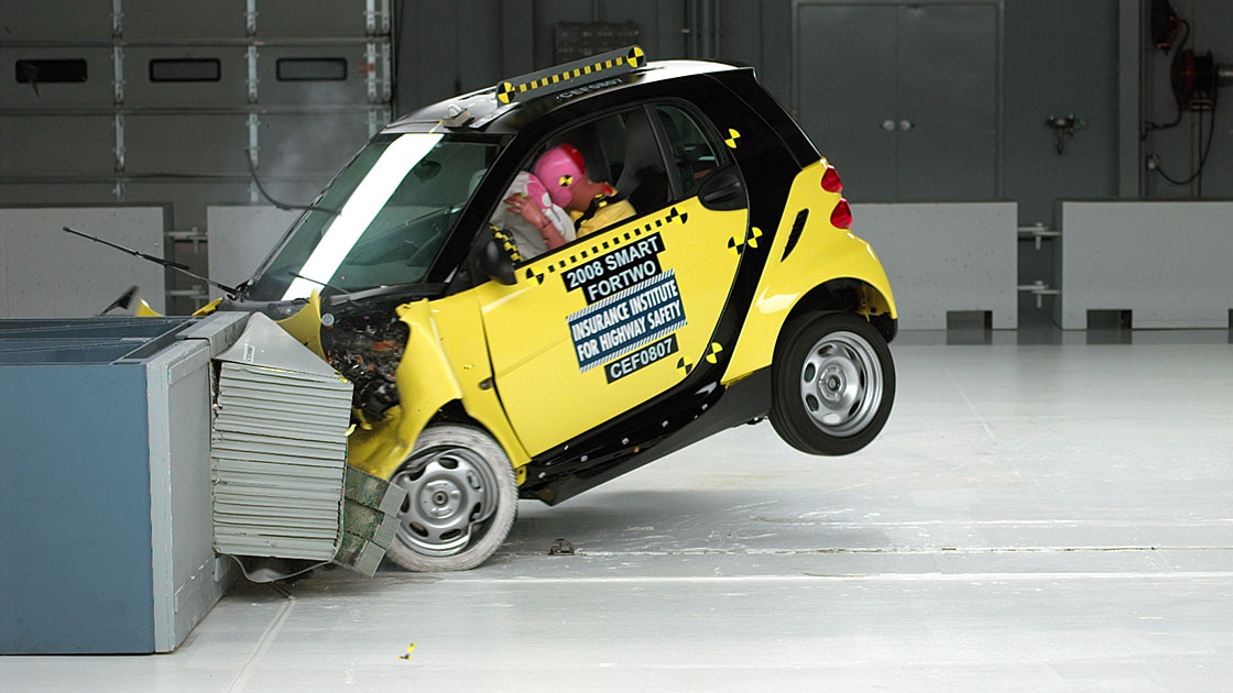 First Insute Crash Tests Of Smart Cardiminutive Two Seater Earns Top Ratings For Protecting People In Front Side Crashes