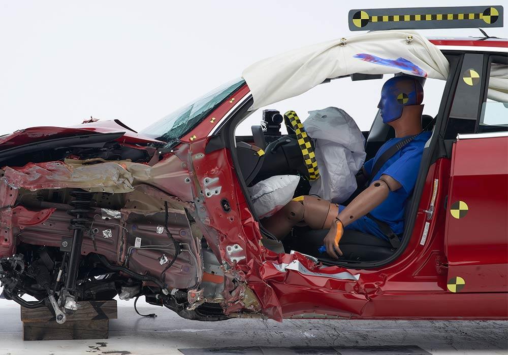 Tesla driver dummy post-crash