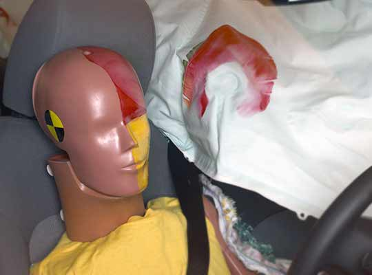 Smeared greasepaint on airbag