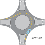 Roundabout left turn